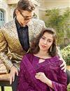 photo of Chiffon Fabric Designer Party Style Purple Embroidered Saree
