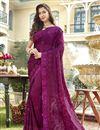 image of Chiffon Fabric Designer Party Style Purple Embroidered Saree