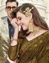 photo of Party Style Chiffon Fabric Embroidered Designer Mehendi Green Saree
