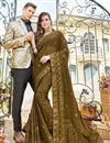 image of Party Style Chiffon Fabric Embroidered Designer Mehendi Green Saree