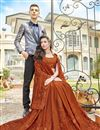 photo of Chiffon Fabric Party Style Embroidered Designer Saree In Rust Color