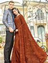 image of Chiffon Fabric Party Style Rust Color Embroidered Designer Saree