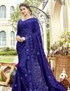 image of Chiffon Fabric Party Style Designer Embroidered Saree In Blue