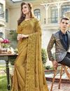 image of Beige Designer Party Style Chiffon Fabric Embroidered Saree