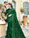 image of Chiffon Fabric Party Style Designer Embroidered Saree In Green