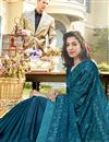 photo of Sky Blue Designer Party Style Chiffon Fabric Embroidered Saree
