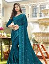 image of Sky Blue Designer Party Style Chiffon Fabric Embroidered Saree