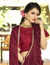photo of Party Wear Ruffle Saree In Maroon Lycra Fabric With Lace Border