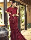image of Party Wear Ruffle Saree In Maroon Lycra Fabric With Lace Border