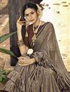 photo of Lycra Fabric Party Style Designer Frill Boder Saree In Dark Beige