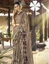 image of Dark Beige Party Style Designer Frill Boder Saree In Lycra Fabric