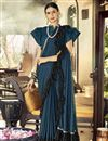 image of Party Style Designer Navy Blue Frill Boder Saree In Lycra Fabric