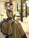 photo of Beige Party Wear Ruffle Saree In Lycra Fabric With Lace Border