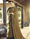 image of Beige Party Wear Ruffle Saree In Lycra Fabric With Lace Border