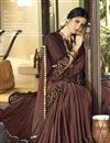 photo of Party Style Designer Brown Frill Boder Saree In Lycra Fabric