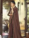 image of Party Style Designer Brown Frill Boder Saree In Lycra Fabric