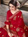 photo of Red Festive Wear Fancy Embroidered Saree In Georgette
