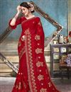 image of Red Festive Wear Fancy Embroidered Saree In Georgette