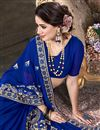 photo of Georgette Fancy Festive Wear Blue Embroidered Saree