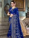 image of Georgette Fancy Festive Wear Blue Embroidered Saree