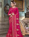 image of Georgette Festive Wear Dark Pink Embroidered Fancy Saree