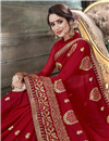 photo of Fancy Maroon Georgette Festive Wear Embroidered Saree