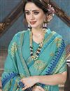 photo of Georgette Festive Wear Cyan Embroidered Fancy Saree