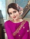 photo of Festive Wear Magenta Embroidered Fancy Georgette Saree