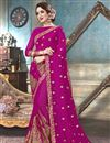 image of Georgette Festive Wear Fancy Embroidered Saree In Magenta