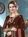photo of Brown Fancy Festive Wear Georgette Embroidered Saree