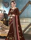 image of Brown Fancy Festive Wear Georgette Embroidered Saree