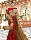 image of Beige Function Wear Designer Embroidered Saree In Art Silk