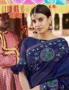 photo of Art Silk Designer Function Wear Navy Blue Embroidered Saree