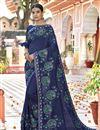 image of Art Silk Designer Function Wear Navy Blue Embroidered Saree
