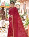 image of Function Wear Georgette Embroidered Designer Red Saree