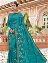 image of Georgette Function Wear Embroidered Designer Saree In Cyan