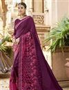 image of Art Silk Function Wear Designer Embroidered Saree In Purple
