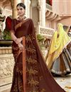 image of Brown Designer Function Wear Georgette Embroidered Saree