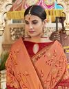 photo of Georgette Function Wear Designer Embroidered Saree In Peach