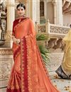 image of Georgette Function Wear Designer Embroidered Saree In Peach