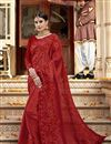 image of Red Function Wear Embroidered Designer Saree In Georgette
