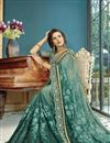 photo of Green Party Style Designer Thread Embroidered Saree In Georgette