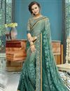 image of Green Party Style Designer Thread Embroidered Saree In Georgette