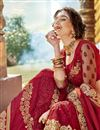 photo of Georgette Designer Party Style Red Thread Embroidered Saree