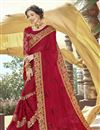 image of Georgette Designer Party Style Red Thread Embroidered Saree