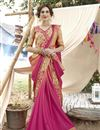 image of Georgette Party Style Thread Embroidered Designer Saree In Pink