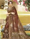 image of Designer Brown Georgette Party Style Thread Embroidered Saree