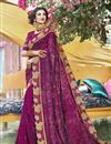 image of Georgette Party Style Purple Thread Embroidered Designer Saree