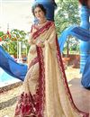image of Beige Designer Party Style Georgette Thread Embroidered Saree