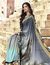 photo of Office Wear Georgette Fabric Printed Saree In Grey